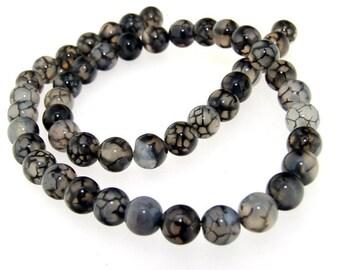 Round Dragon Agate Gemstone Beads 8mm One Strand