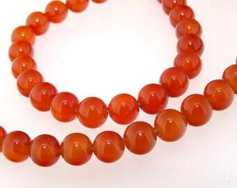Round Red Agate Gemstone Beads 8mm One Strand