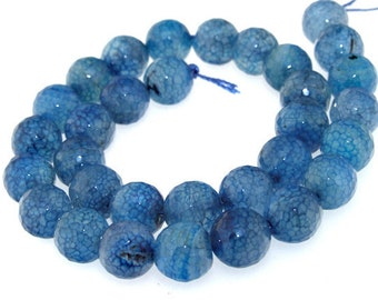 Faceted Blue Agate Gemstone Beads 12mm One Strand