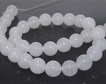 12mm White Round Jade Gemstone  Beads One Strand