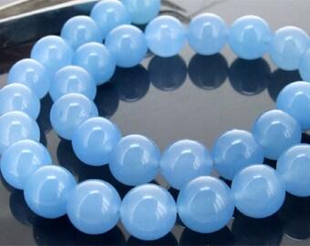 12mm Blue Round Jade Gemstone  Beads One Strand