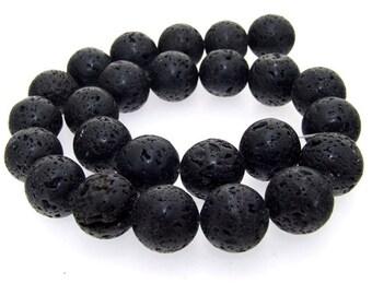 Round 16mm Black Lava  Gemstone One Strand