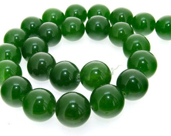 Round 16mm Oliven Jade Gemstone Beads One Strand