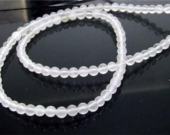 4.5mm White Round Jade Gemstone  Beads one Strand