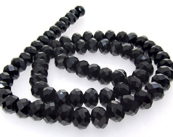 """Faceted Black Glass Crystal 10mm Gemstone Beads Strand 20.5"""""""