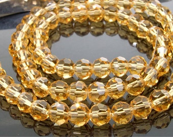 """72Beads Faceted Yellow Glass Crystal Gemstone Beads Strand 8mm 21"""""""