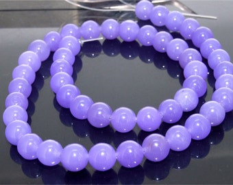 Charm Round Jade 8mm Purple Round Jade Gemstone  Beads One Strand
