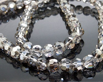 """72Beads Faceted Glass Crystal Gemstone Beads Strand 8mm 21"""" Shiny Superb Round Faceted Glass Crystal Beads Full One Strand Fashion Jewelry"""