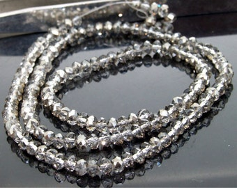 """Faceted  Glass Crystal Beads 3mmx4mm Gemstone Strand 19"""""""
