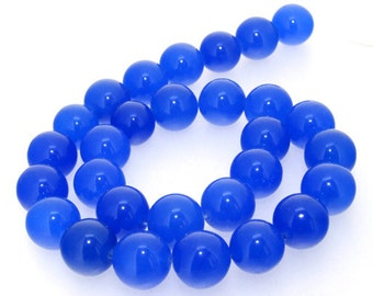 Blue Jade Round 14mm Gemstone Beads One Strand 15.5""