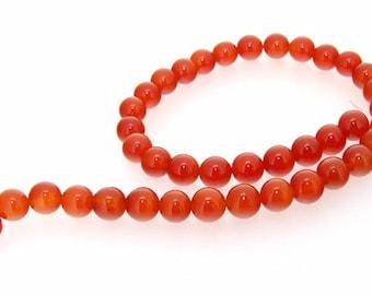 "Round 10mm Red Agate Gemstone Beads One Strand 16"""