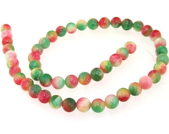 Round Candy Multicoloured 8MM Jade Gemstone Beads One Strand