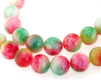 Round Candy Multicoloured 12MM Jade Gemstone Beads One Strand
