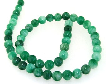 Round Green 8MM Jade Gemstone Beads One Strand