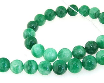 Round Green 14MM Jade Gemstone Beads One Strand