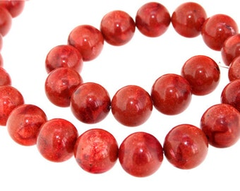 Strand  Red Sponge Coral Gemstone Beads 16mm 16""