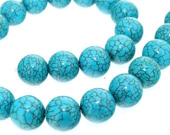 Charm Round 16mm Turquoise Gemstone Beads Full One Strand