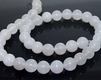 Round White Jade Stone 10mm Gemstone Beads One Strand 15inch