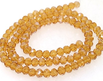 """Champagne Faceted Glass Crystal 6mm Beads Gemstone 18"""""""