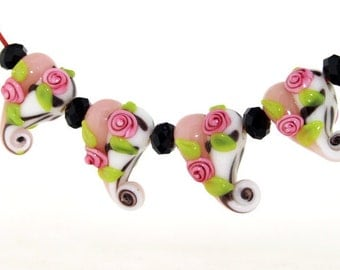 Hole 3mm 5Beads Lampwork bead Rose Flowers green leaf Handmade jewelry designs  European Style