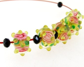 Hole 3mm 6Beads Lampwork beads Rose Flowers Handmade jewelry designs  European Style