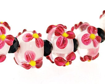 Hole 3mm 6Beads Lampwork beads red pink flowers beads Handmade jewelry designs  European Style