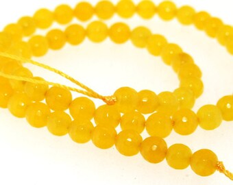 Charm Faceted Yellow Candy Jade 6mm Gemstone Beads One Strand