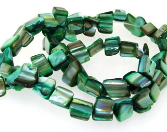 Luster Nugget Shell Mop Green  Beads 7mmx8mm  Gemstone Beads One Strand  Mother of pearl