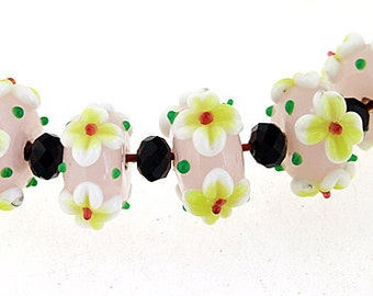 Hole 3mm 5Beads / 6beads Pink Lampwork bead  Yellow 4 petals Flowers Handmade jewelry designs European Style