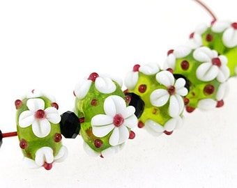 Hole 2mm 5Beads White Flower Olive Lampwork bead Candy 4 petals Flowers Handmade jewelry designs European Style