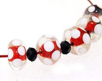 charm hole 3mm 5beads red lampwork beads rondelle lampwork white peacock twist handmade jewelry designs european