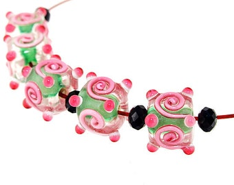 Hole 3mm 5Beads Pink Twist Lampwork bead Candy  Handmade jewelry designs European Style