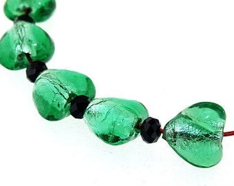 Hole 2mm 5Beads Green Heart Lampwork bead Candy  Handmade jewelry designs European Style