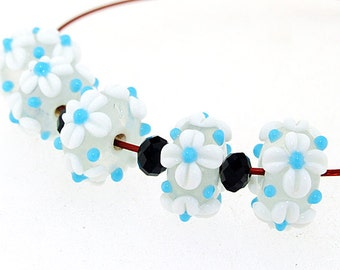 Hole 3mm 5Beads White Flower  Lampwork bead Candy 4 petals Flowers Handmade jewelry designs European Style