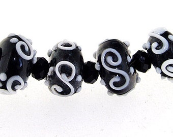 Elegant Hole 3mm Lampwork 5Beads White Twist Black Lampwork bead Rondelle Lampwork Candy  Handmade jewelry designs European Style