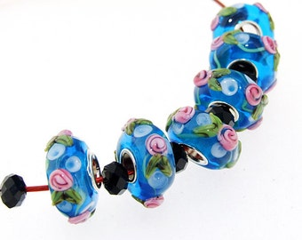 Big Hole 5mm 6Beads Flower Blue Lampwork bead 15mm   Handmade jewelry designs  European Style
