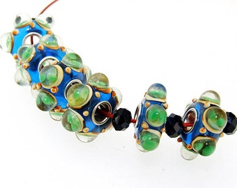Big Hole 5mm 6Beads Blue Lampwork bead 15mm Green Air bubble Handmade jewelry designs  European Style