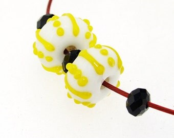 Charm Hole 3mm 6Beads white Lampwork beads Yellow air bubble  Handmade jewelry designs European Style