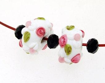 Charm Hole 4mm 5Beads White Lampwork beads flower Handmade jewelry designs European Style