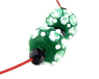 Charm Hole 3mm 5eads Green  Lampwork beads white flower Handmade jewelry designs European Style