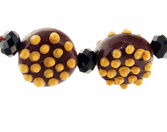 Charm Hole 3mm 2eads Brown  Lampwork beads  Air Bubble Handmade jewelry designs European Style