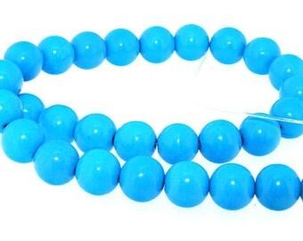 """Full Turquoise Round Blue Turquoise Gemstone Beads 12mm One Strand 16"""""""