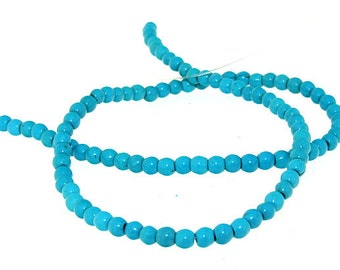 "Full Turquoise  Gemstone Beads 4mm One Strand 16"""