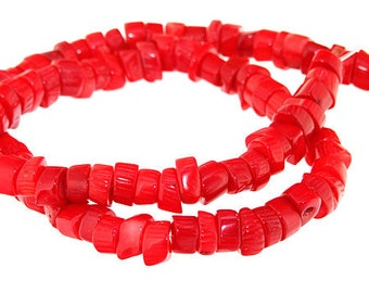 One Strand Heishi Red Coral Gemstone Beads Strand 6mm 15.5inch