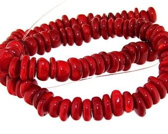 One Strand Heishi Red Coral Gemstone Beads Strand 10mm 15.5inch