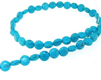 """Full pure Turquoise Coin  Turquoise Gemstone Beads 10mm One Strand 16"""""""