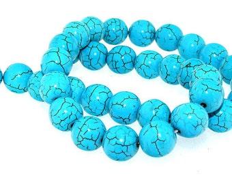 Round 10mm Turquoise Gemstone Beads Strand