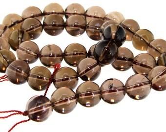 "Round 12mm Smoky Crystal Quartz  Gemstone Beads 15.5"""