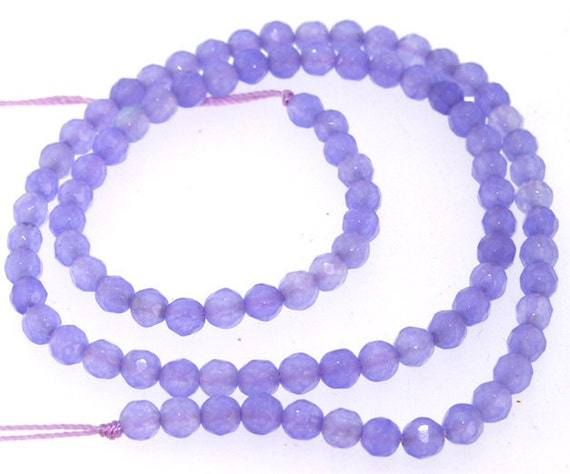 "Faceted Purple Jade 4mm Round Gemstone Beads Strand 14.5"""