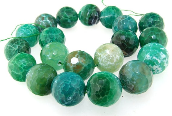 Rare Faceted Green Agate 20mm Gemstone beads Loose One strand